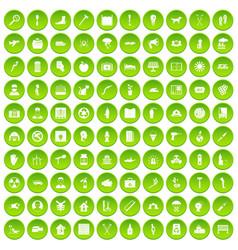 100 help icons set green circle vector