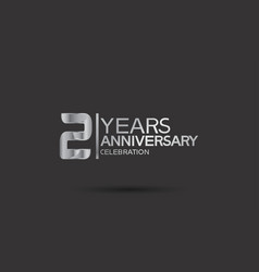 2 years anniversary logotype with silver color vector