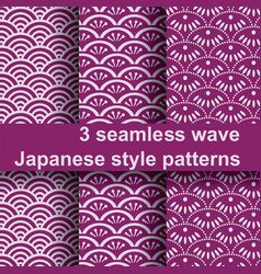 3 wave japanese style patterns vector