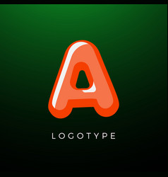 3d playful letter a kids and joy style symbol vector image