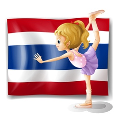 A ballet dancer in front of the Thailand flag vector image