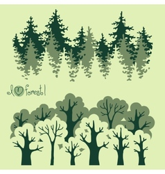 Abstract banners of green deciduous forest and vector image vector image