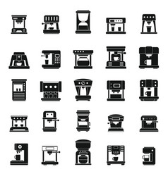 American coffee machine icons set simple style vector