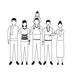 Avatar grandfathers with sons and grandchild vector