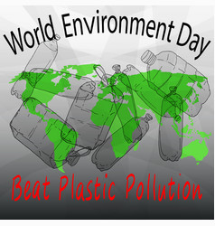 Beat plastic pollution world environment day vector