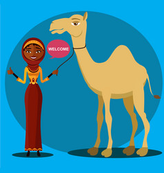 bedouin woman walking leading a camel vector image