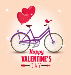 Bicycle transport with hearts balloons to vector