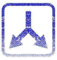 Bifurcation arrow down framed textured icon vector