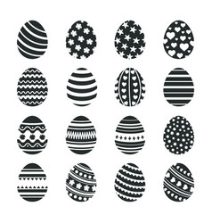 black easter eggs icons christian tradition happy vector image