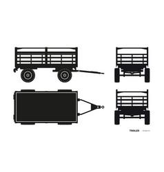 black silhouette tractor trailer vector image