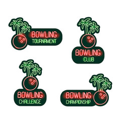 bowling set neon signs club tournament vector image