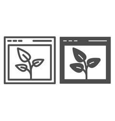 Browser with leaf line and glyph icon web window vector