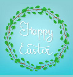 calligraphy lettering happy easter on blue vector image