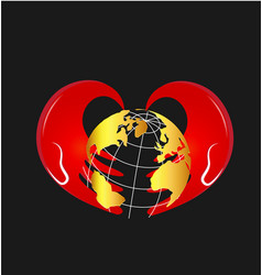 caring hands and global earth icon vector image
