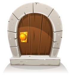 Cartoon wooden and stone hobbit door vector