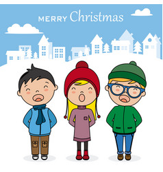 children with books singing christmas songs vector image