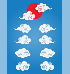 Chinese cloud set isolated vector