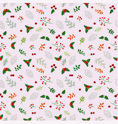 christmas holiday seamless pattern with flowers vector image