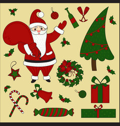 christmas items and santa set new year vector image