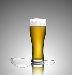 Close up glass beer with hearts vector