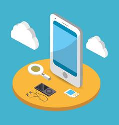 Cloud network cartoon vector