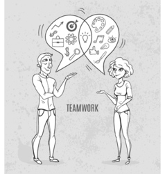 Collaboration of two people Creative woman and man vector image
