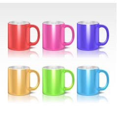 Color realistic ceramic coffee tea mugs vector image