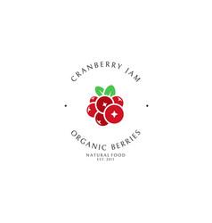 Cranberry jam logo template vector