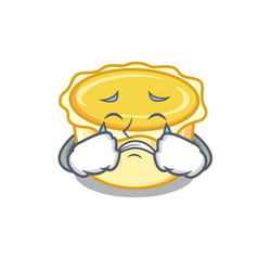 Crying egg tart mascot cartoon vector