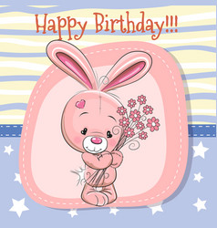 Cute cartoon rabbit with flowers vector