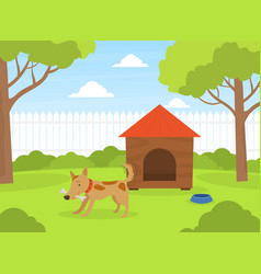 cute dog gnawing bone on green lawn near doghouse vector image