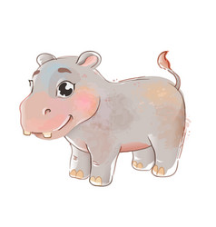cute hippopotamus little hippo vector image