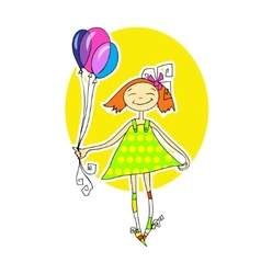 Cute little girl running with balloons vector