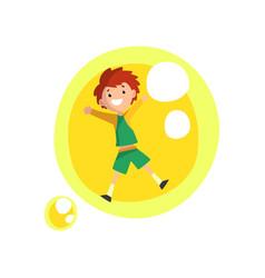 Cute smiling boy having fun inside a giant yellow vector