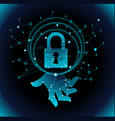 data protection by digital security hologram vector image