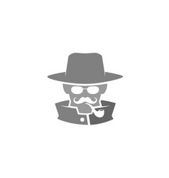 detective head sheriff logo vector image