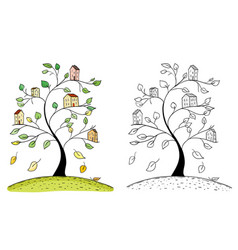 doodle houses on tree branches vector image