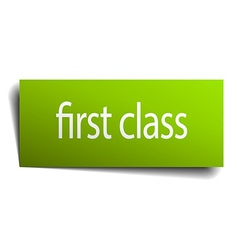 First class green paper sign isolated on white vector