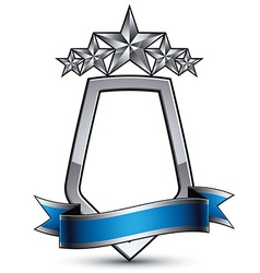 Five silver stars with wavy ribbon placed over vector