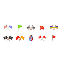 flag icon set cartoon style vector image