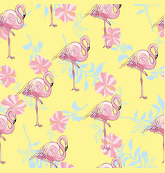 Flamingo seamless pattern on mint green vector