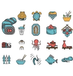 Flat color icons for seafood menu vector image