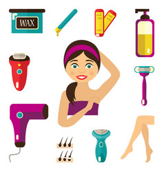 Flat hair removal tools set vector