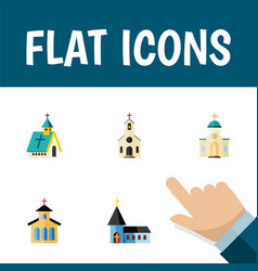 flat icon christian set of christian architecture vector image
