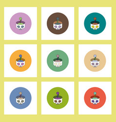 Flat icons halloween set of skull and flower vector