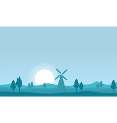 Flat of windmill on farm silhouettes vector