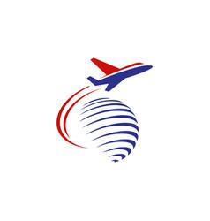 flying aeroplane over world symbol concept vector image
