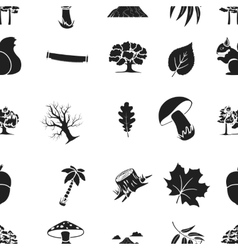 Forest pattern icons in black style big vector
