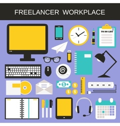 Freelancer workplace icons set vector image vector image
