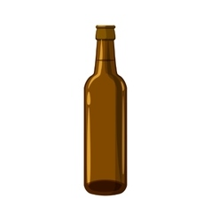 Full brown beer bottle icon cartoon style vector image